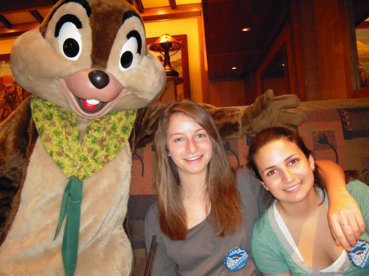 The Disney character breakfast. L-R: Chip (not Dale), Orlee Roza and Melanie Yemma. When Melanie was a toddler, Chip made her cry.